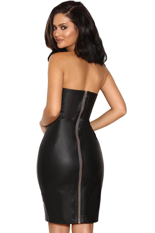 Clothing : Bodycon Dresses : &39Enrica&39 Black Vegan Leather ...