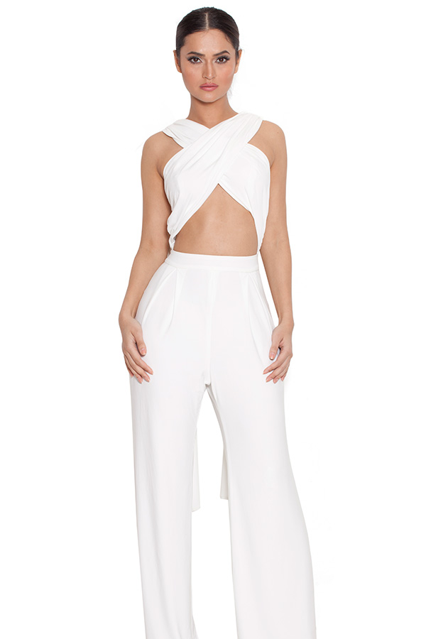Clothing : Jumpsuits : 'Karita' Off White Jumpsuit with Long ...