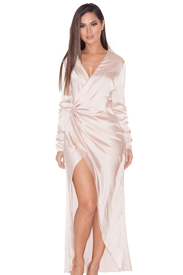 Champagne satin maxi dress