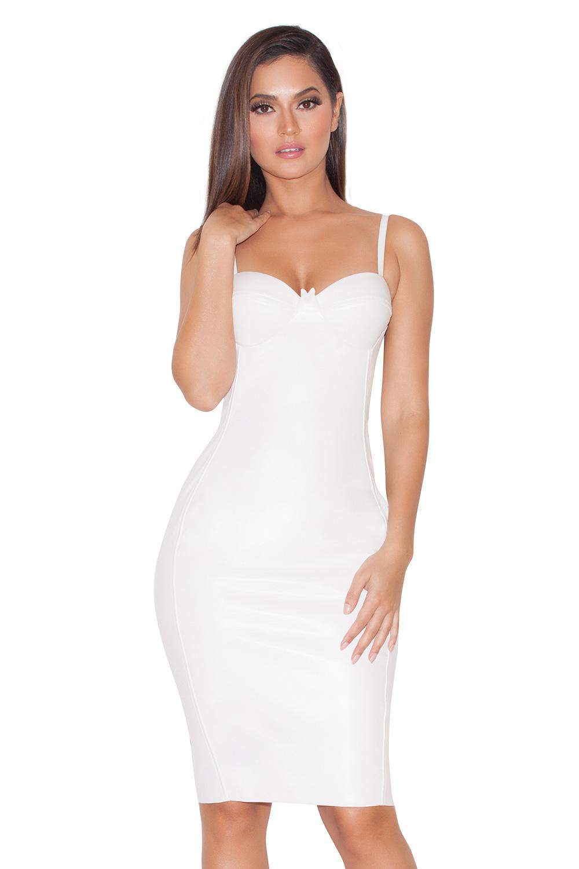 Clothing : Pencil Dresses : 'Lana' White Stretch Leatherette ...