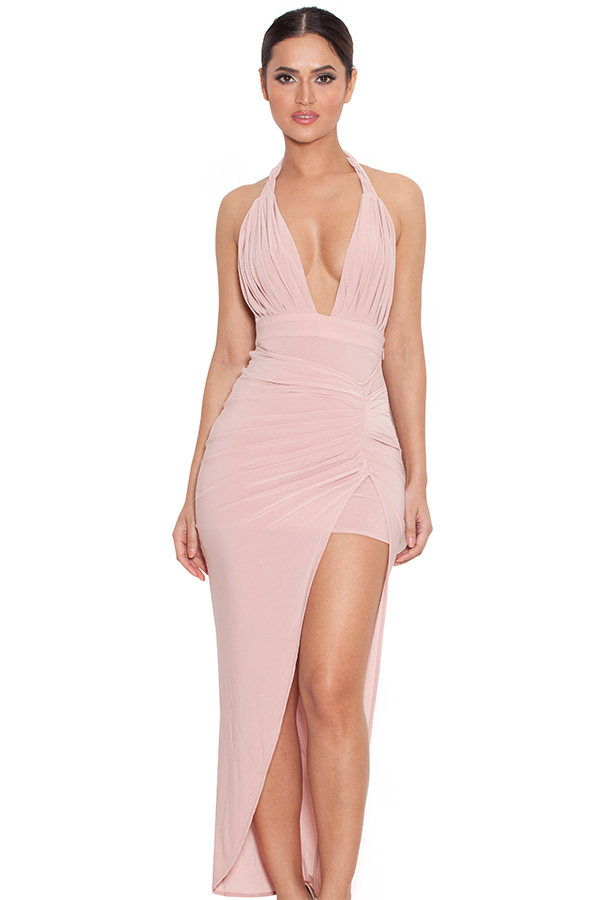 Clothing : Max Dresses : &-39-Luce&-39- Rose Pink Draped Maxi Dress