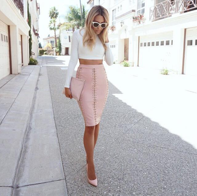 Clothing : Skirts : 'Abelia' Pale Pink Vegan Leather Skirt with ...