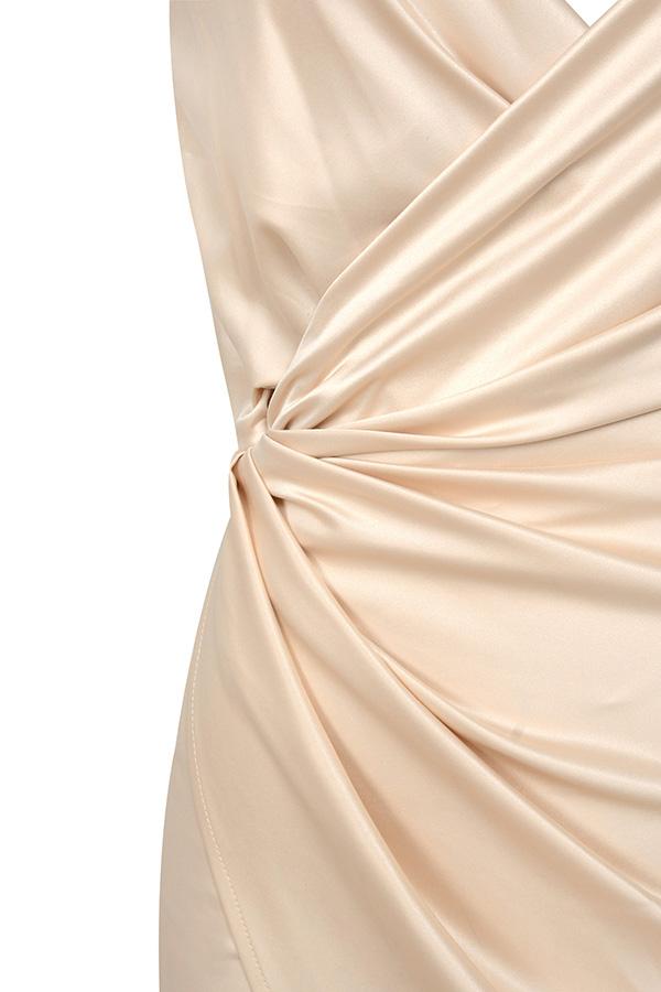 Clothing Bodycon Dresses Coco Nude Satin Drape Back