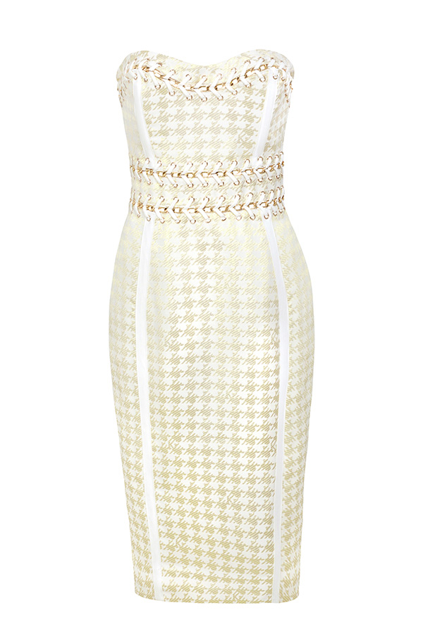 Clothing : Bodycon Dresses : 'Domenica' Gold And Cream