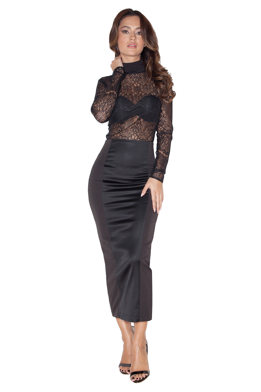 Clothing : Skirts : 'Raissa' Black Satin and Stretch ...