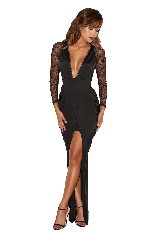 Black dress jersey - Adiran Black Lace And Silky Jersey Maxi Dress