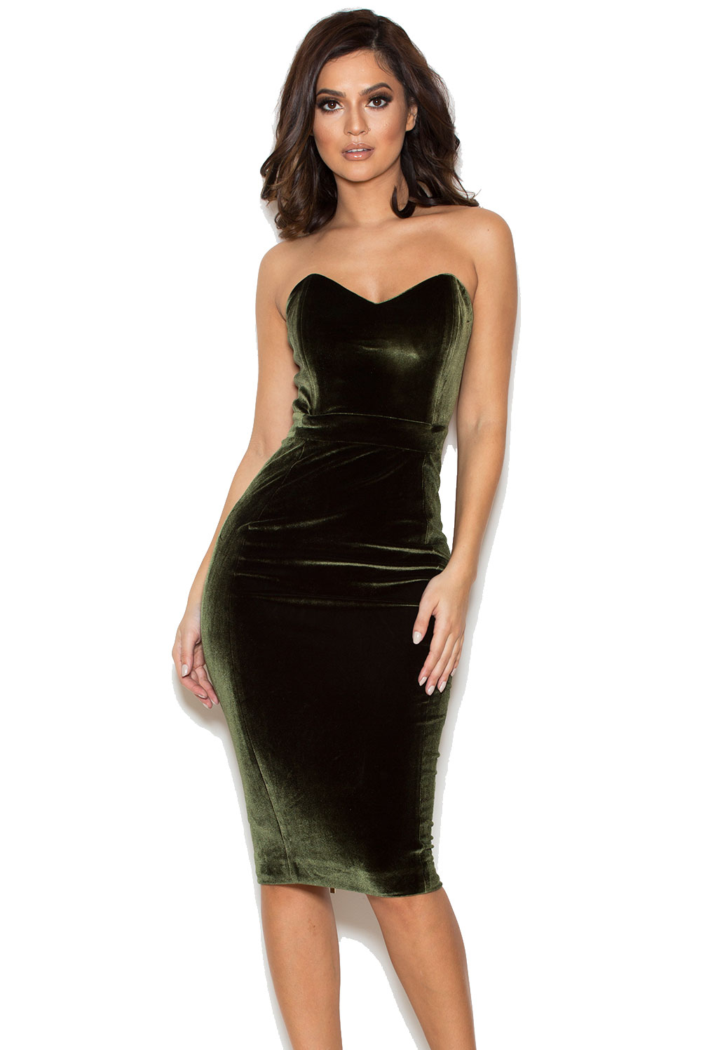 Clothing : Bodycon Dresses : &-39-Antonella&-39- Olive Green Velvet ...
