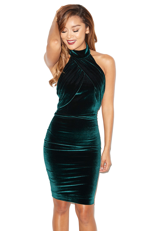 House Of Cb Bellina Dark Green Velvet Backless Dress