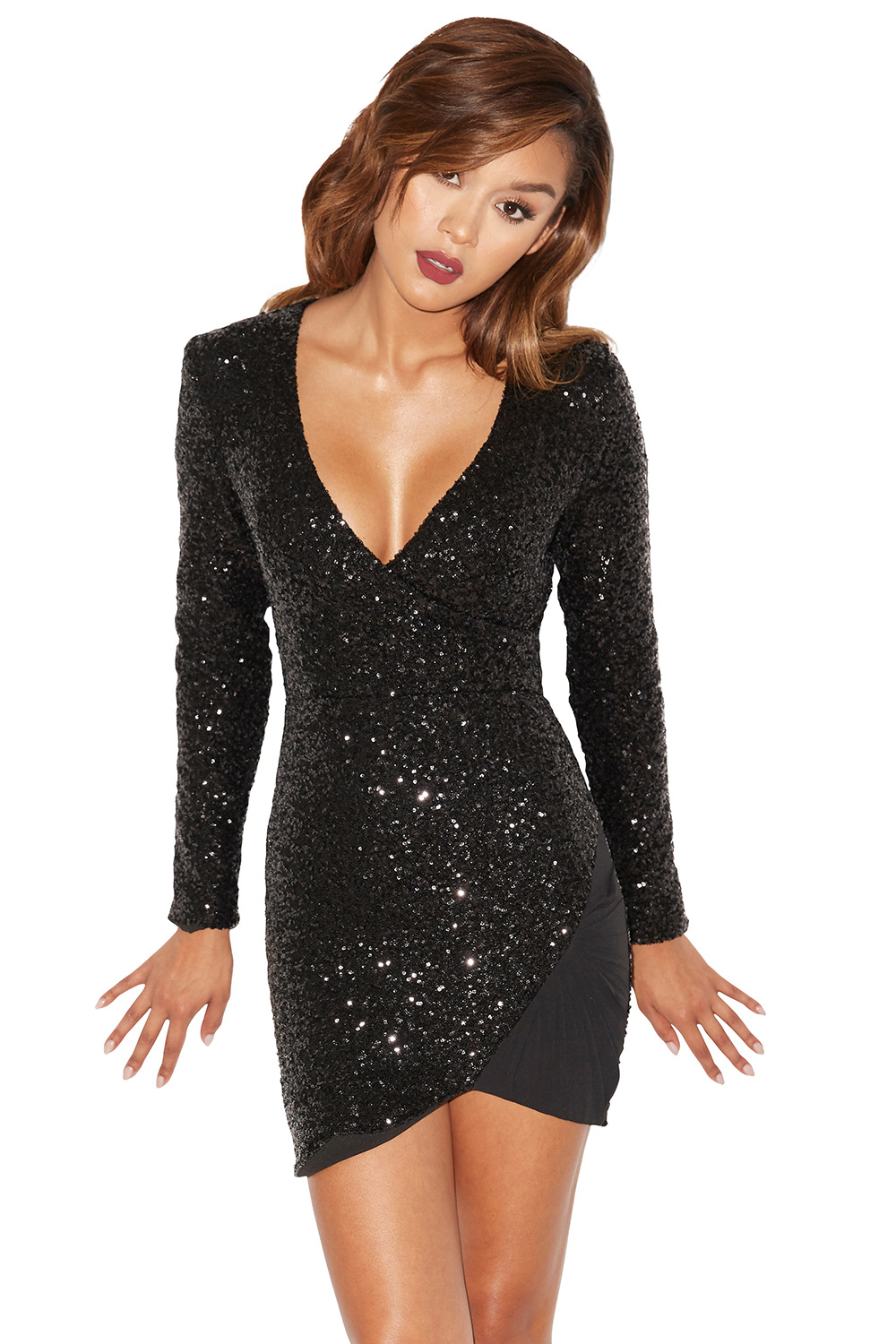 Clothing : Bodycon Dresses : &39Cascata&39 Black Sequin Asymmetric ...