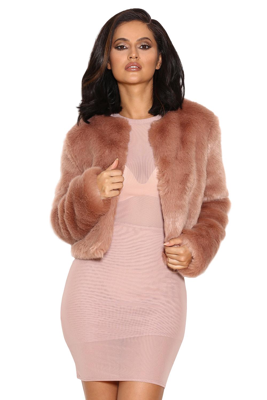 Clothing : Jackets : 'Emilia' Blush Faux Fur Jacket