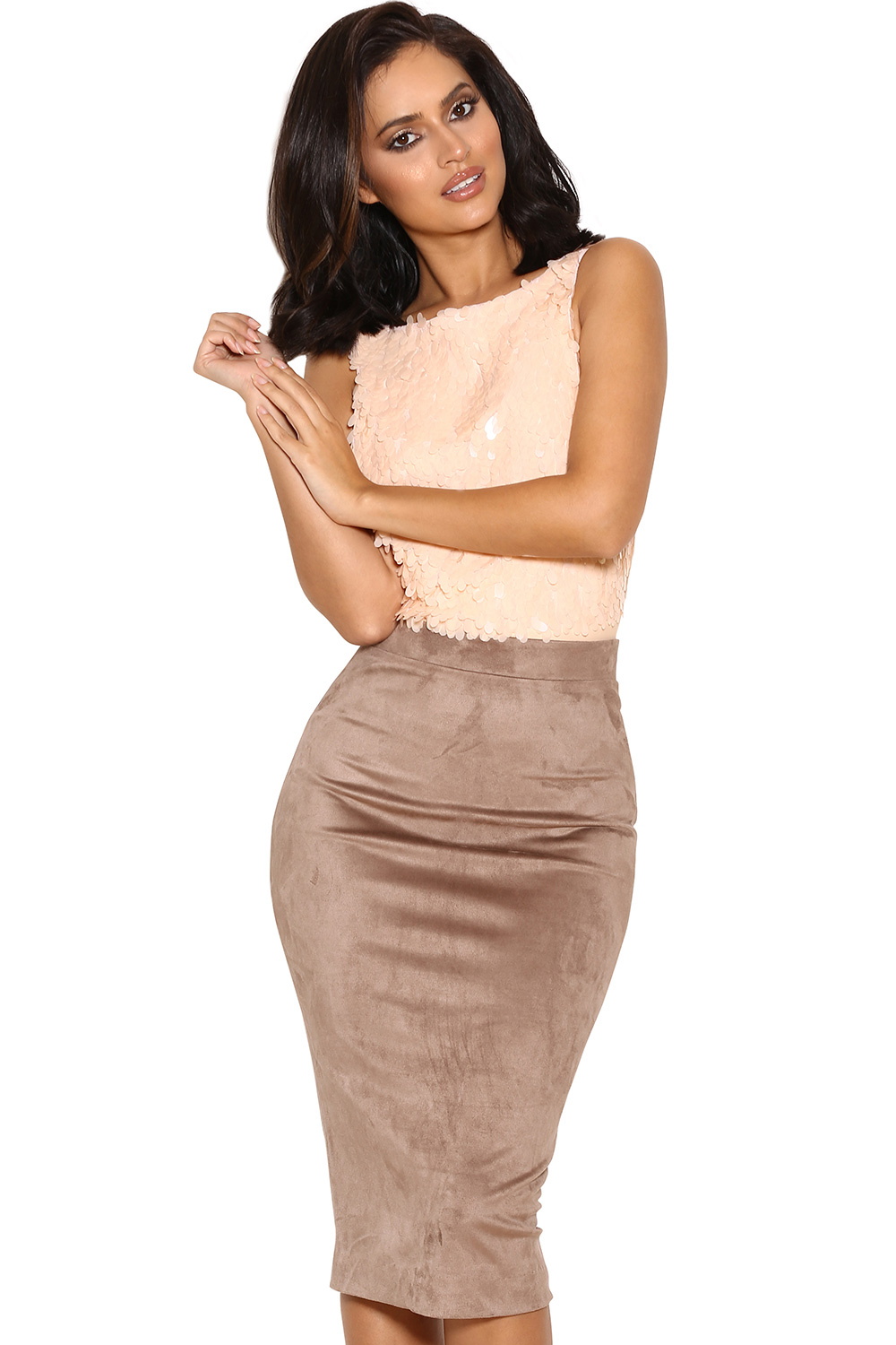 Clothing : Skirts : 'Giuditta' Taupe Suedette Pencil Skirt