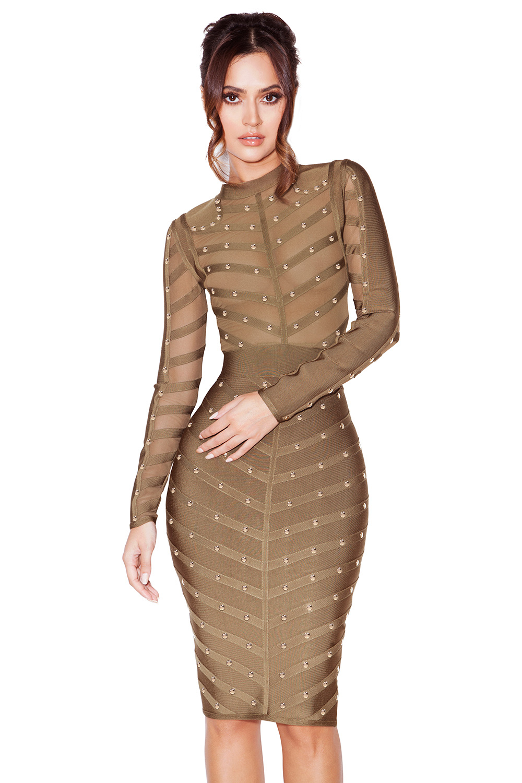 clothing bandage dresses 39 kaori 39 khaki studded bandage. Black Bedroom Furniture Sets. Home Design Ideas