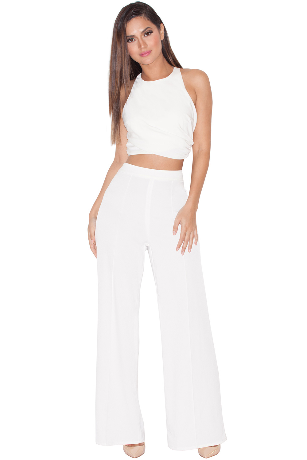 Clothing : Bottoms : 'Karija' White Stretch Crepe Wide Leg Trousers