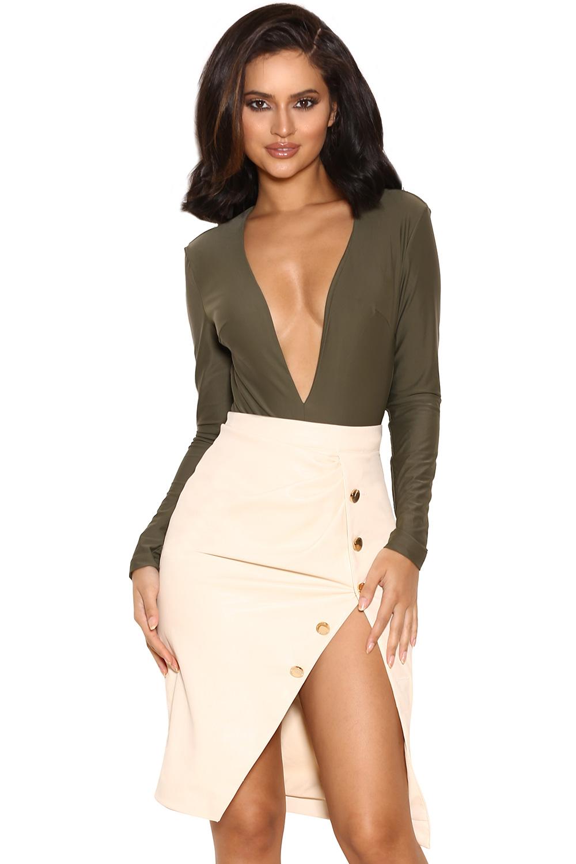 Clothing : Bodysuits : u0026#39;Lorenzau0026#39; Khaki Silky Jersey Deep V Bodysuit