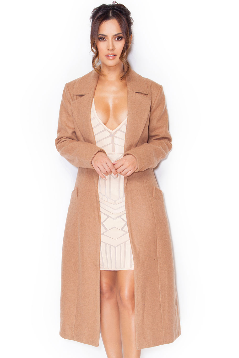 Clothing : Jackets : 'Milya' Camel Wool Mix Coat