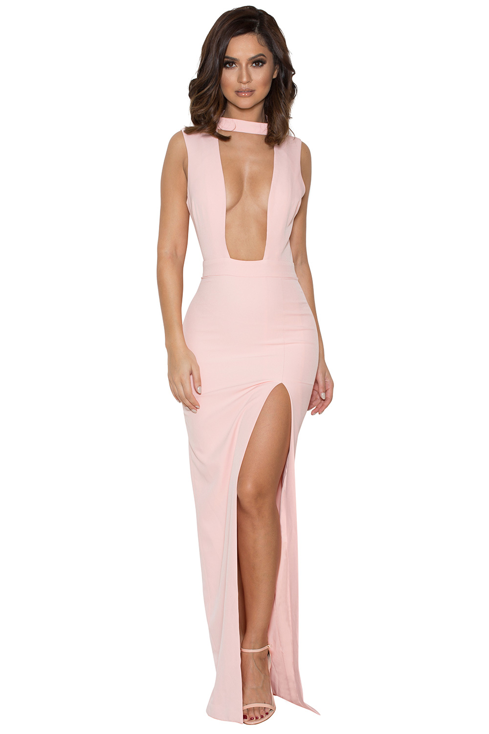 Clothing : Max Dresses : &-39-Jehane&-39- Pale Pink Cut Out Maxi Dress