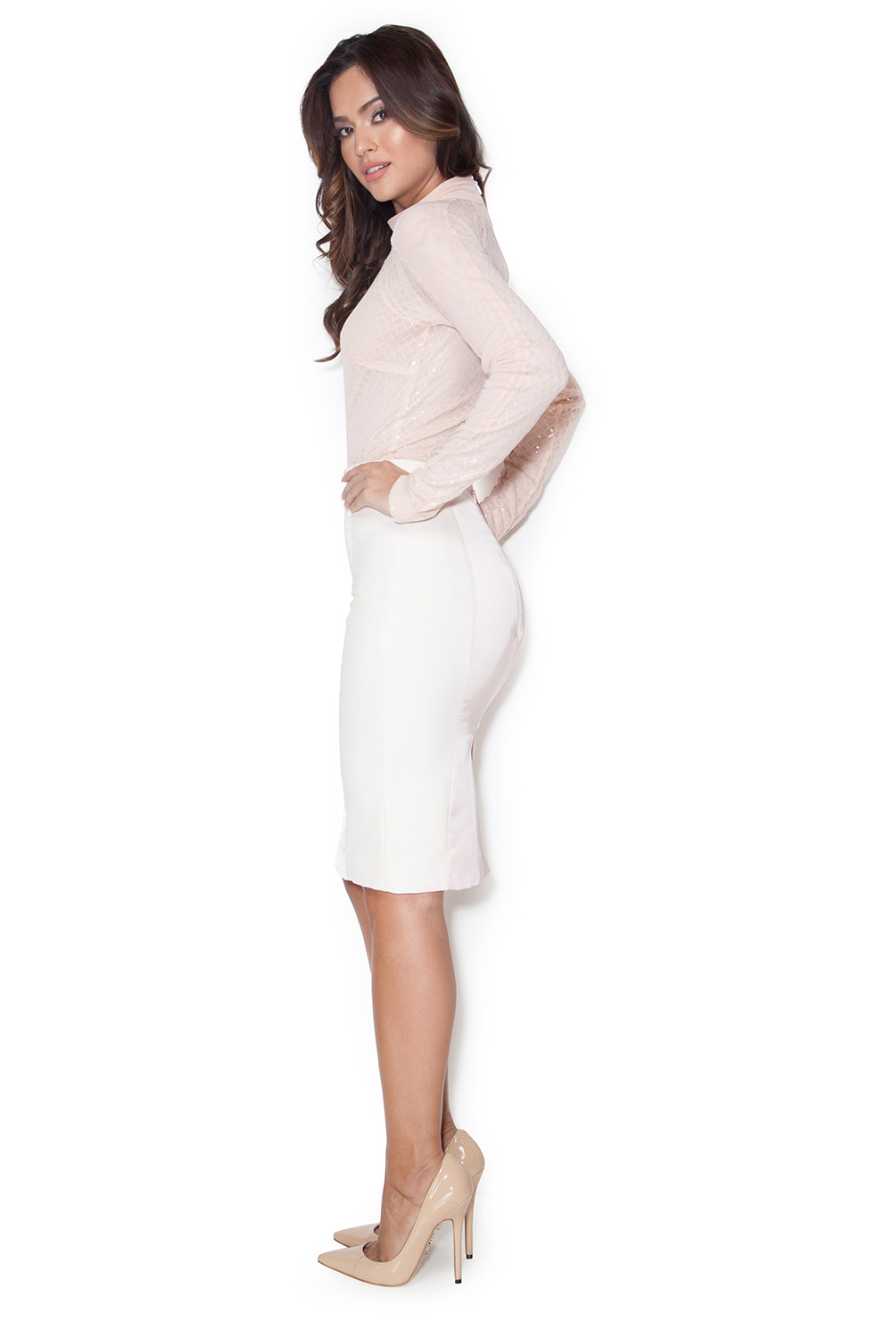 Pink Satin Pencil Skirt 82