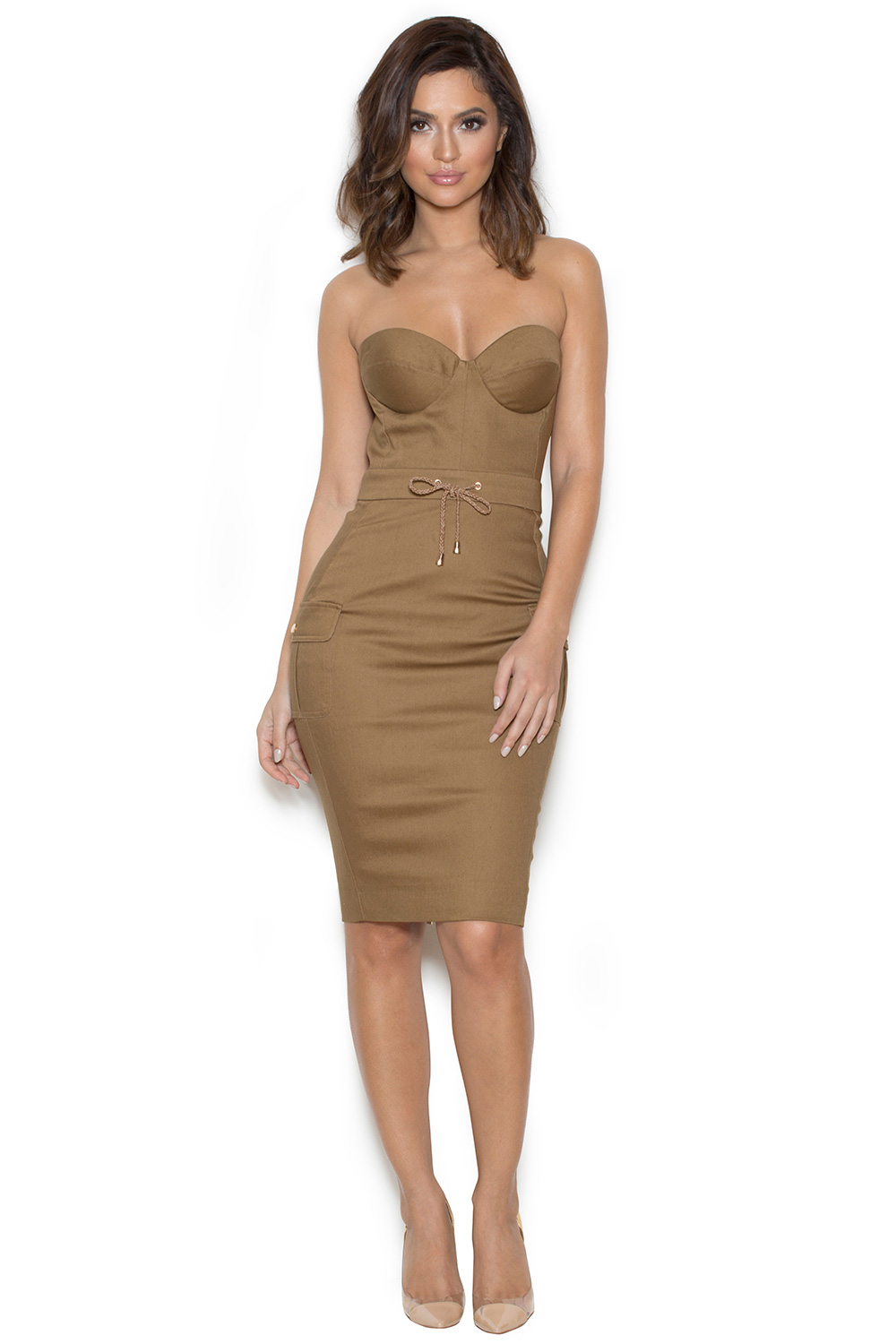 Clothing Bodycon Dresses 39 Morena 39 Tan Twill Bustier Dress