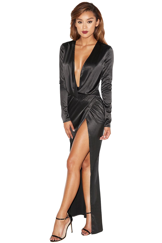 Clothing Max Dresses Serafina Black Draped Maxi Dress