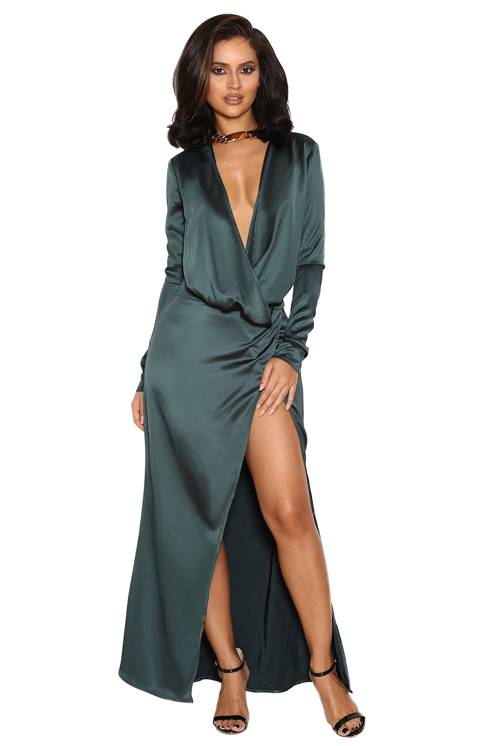 Clothing : Max Dresses : 'Serafina' Teal Draped Maxi Dress