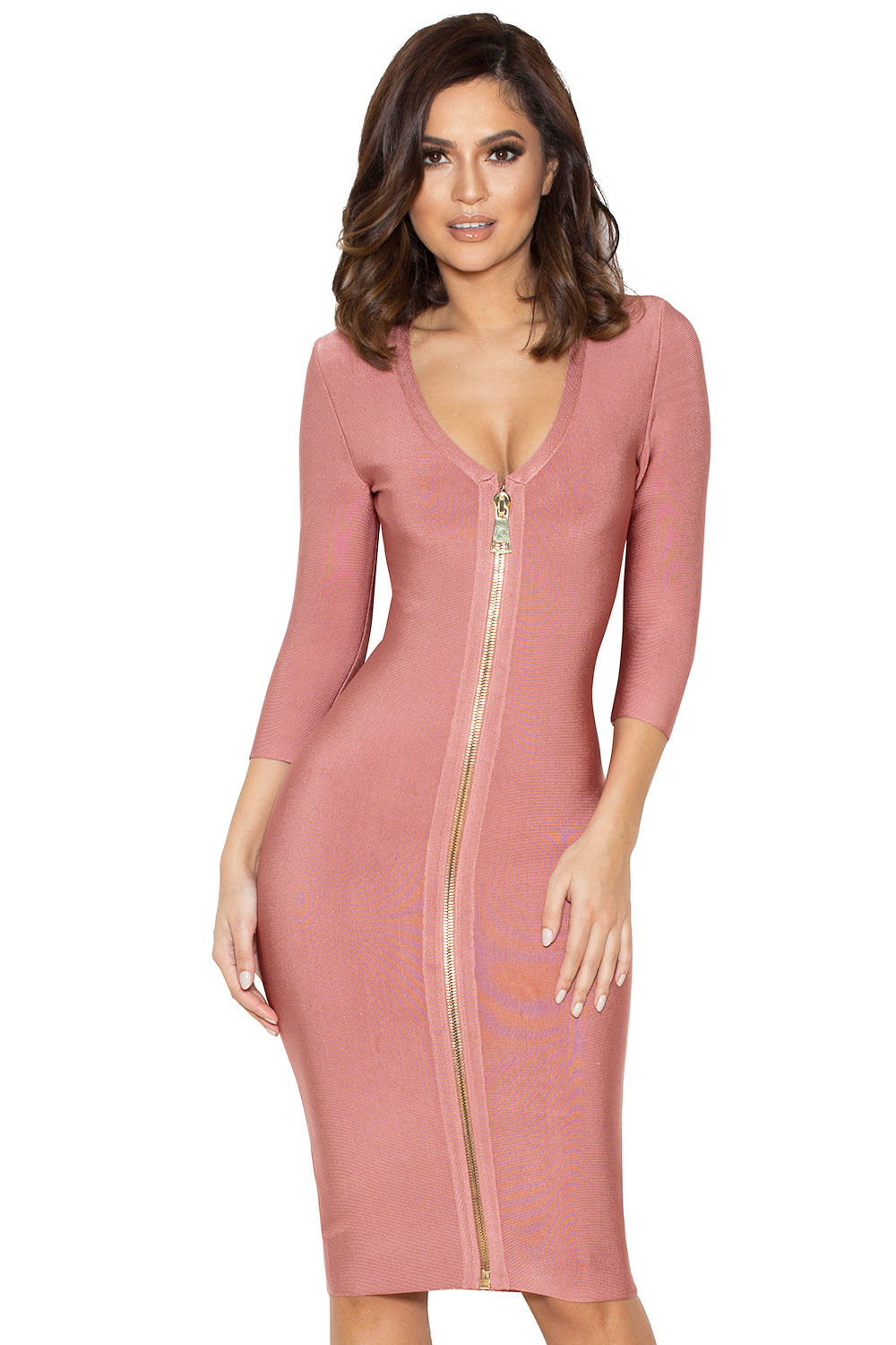 Clothing : Bandage Dresses : 'Ila' Rose Pink Bandage Dress
