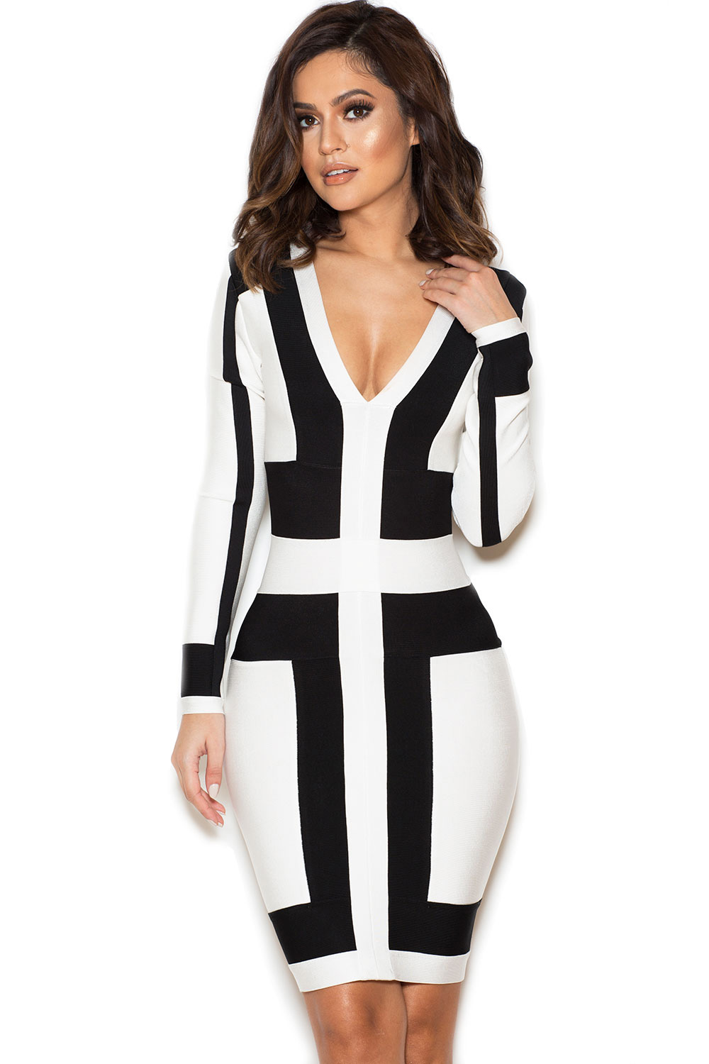Clothing : Bandage Dresses : 'Michiyo' Black and White Graphic ...