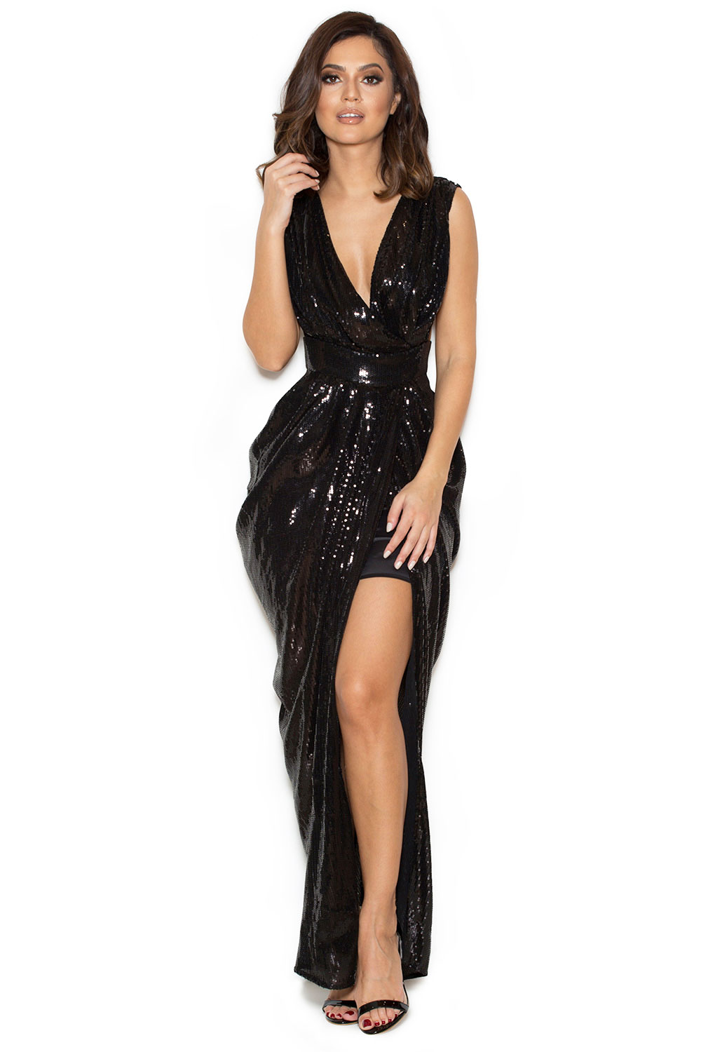 Clothing : Max Dresses : &39Nerice&39 Black Sequin Draped Maxi Dress