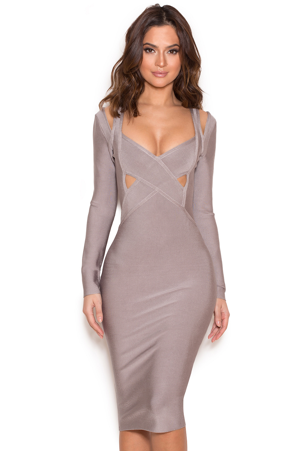 Clothing : Bandage Dresses : 'Calvi' Grey Long Sleeve Cut Out ...
