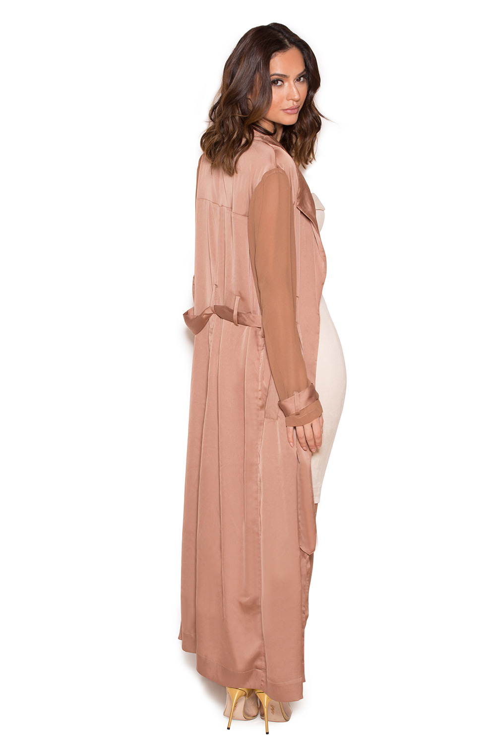 Clothing Jackets Coryn Rose Gold Silky Duster Coat