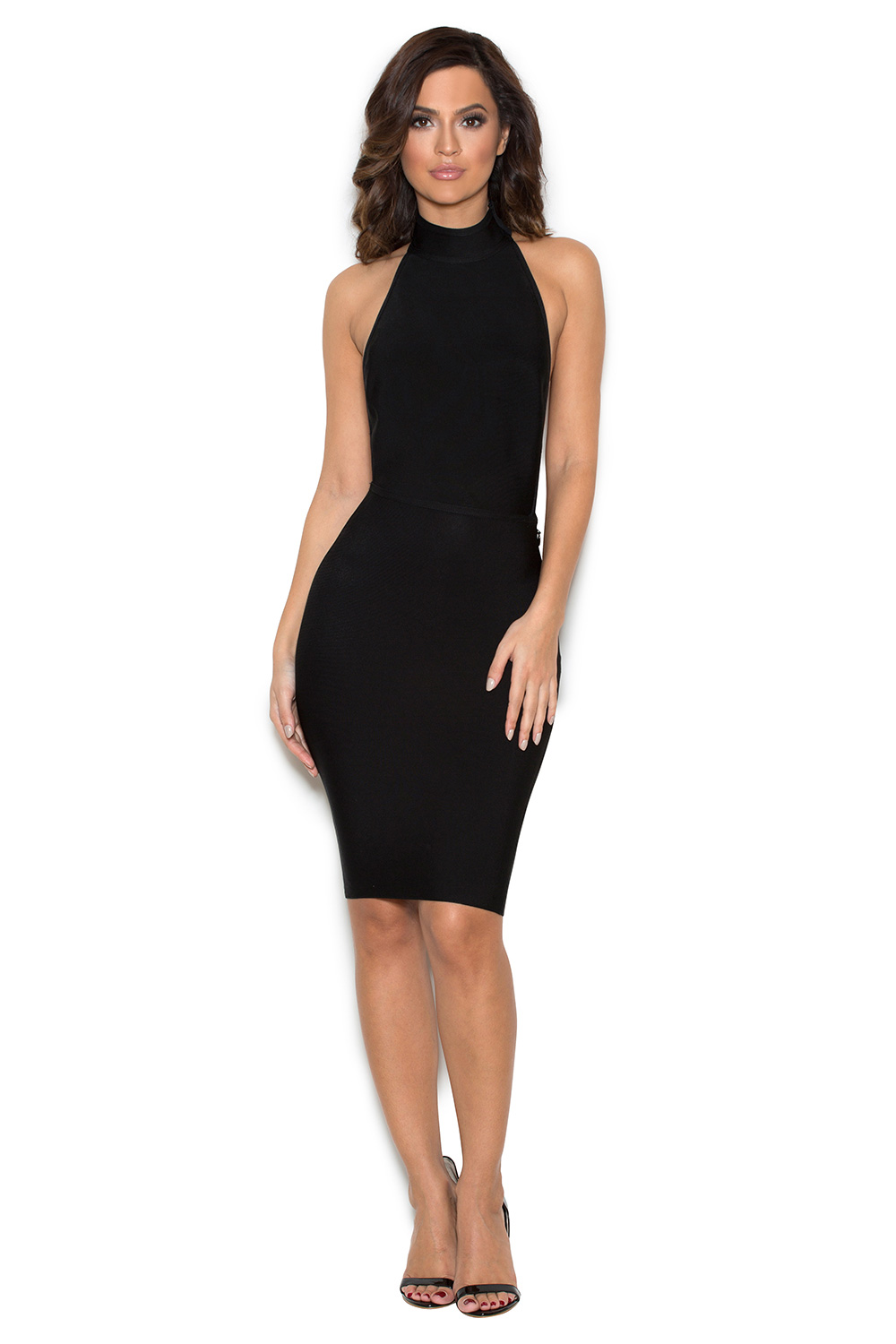Clothing  Bandage Dresses  u0026#39;Eleniu0026#39; Black Low Back Halter Bandage Dress