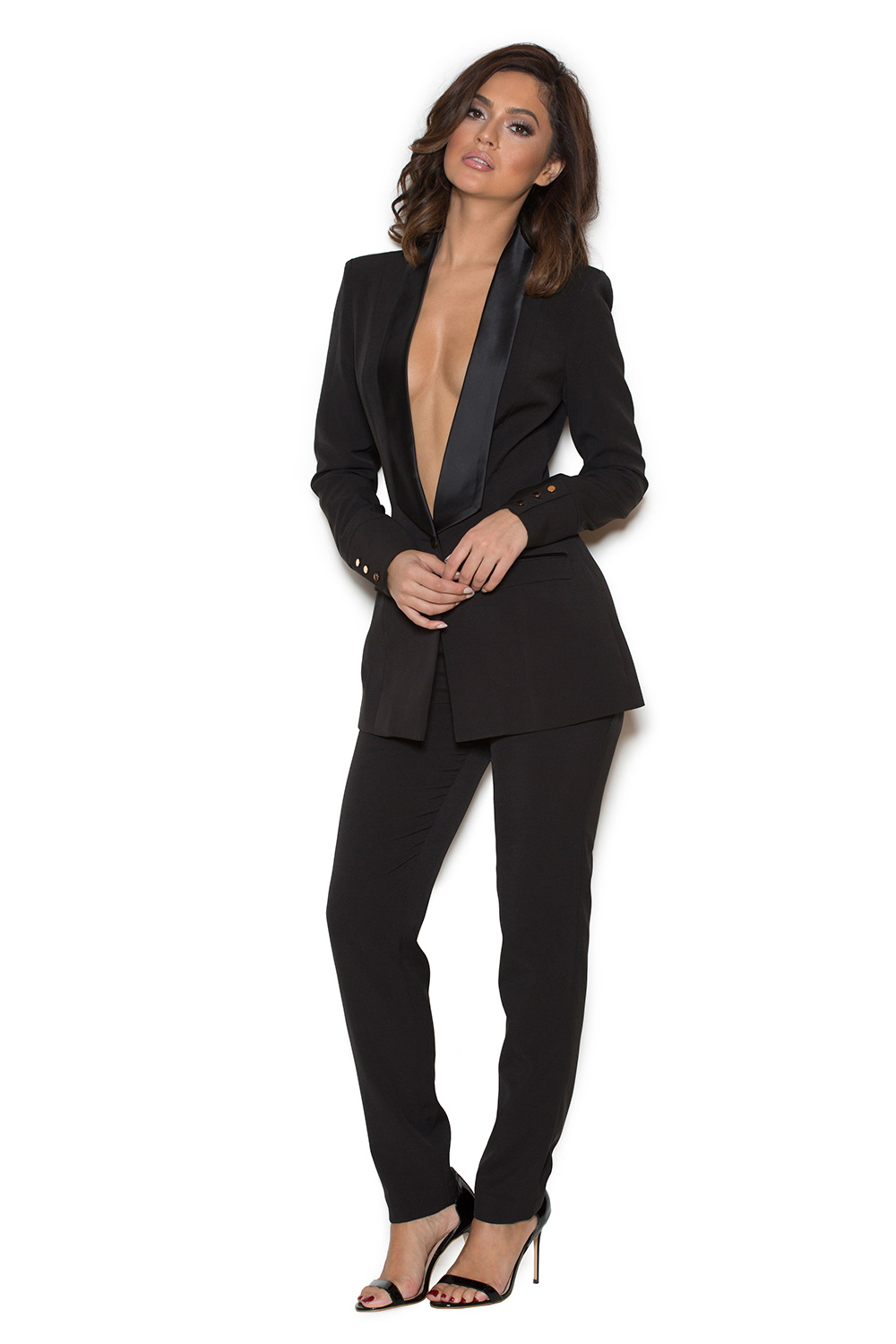Clothing : 2 Pieces : 'Masson' Black Stretch Crepe Tailored ...