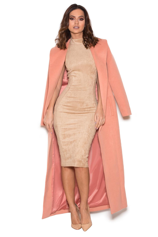 Clothing : Jackets : 'Moren' Dusky Pink Wool Mix Long Length Coat
