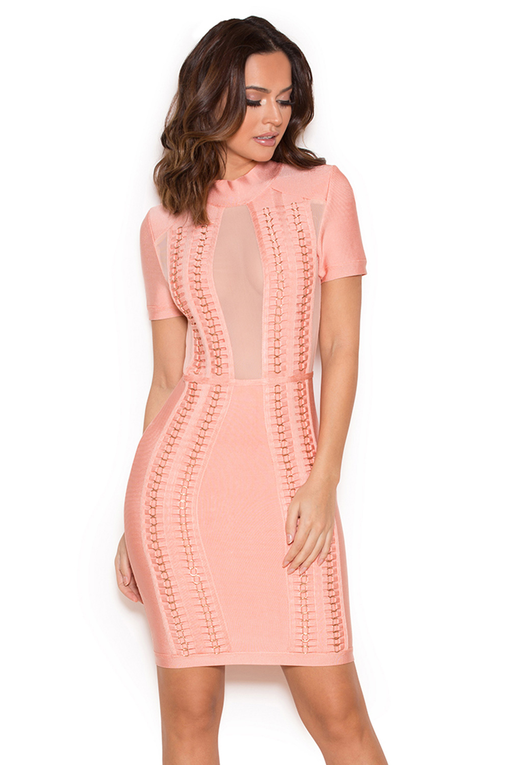 Clothing : Bandage Dresses : 'Rayane' Pink Bandage and Mesh Dress