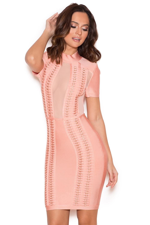 Clothing : Bandage Dresses : &39Rayane&39 Pink Bandage and Mesh Dress