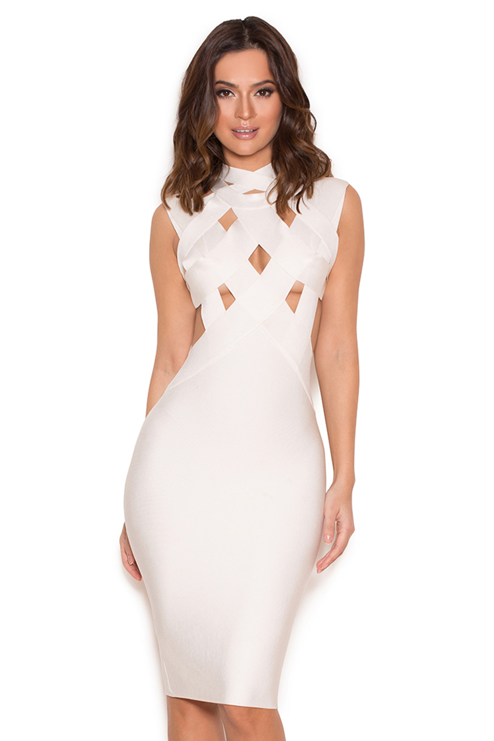 Clothing : Bandage Dresses : 'Simi' White Cut Out Bandage Dress