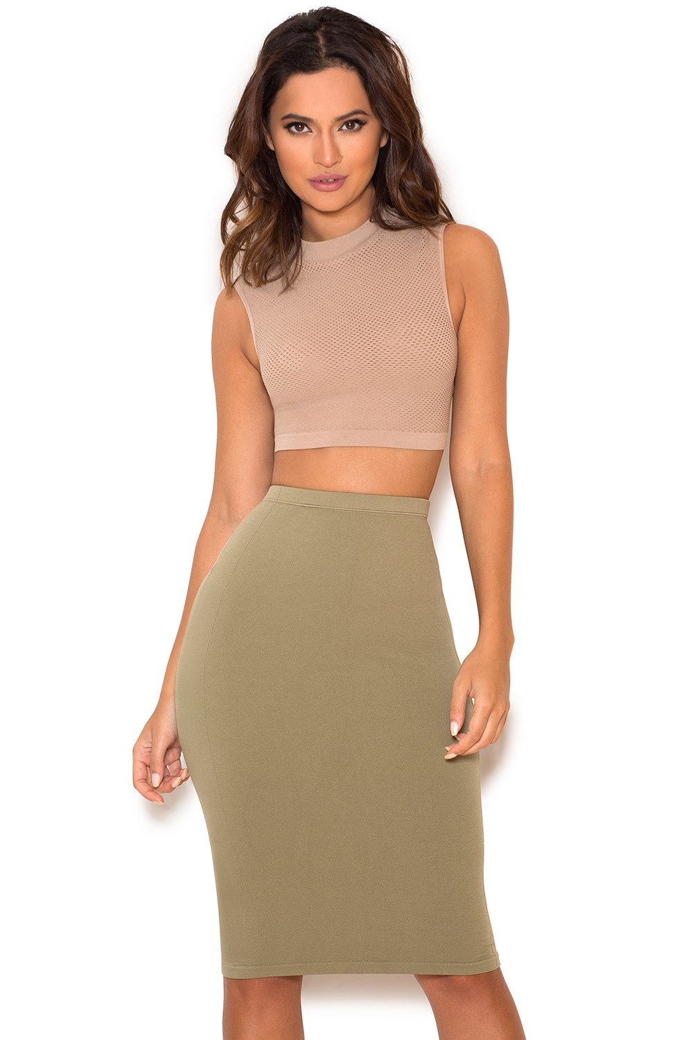 Clothing : Skirts : 'Shahla' Khaki Seamless Knit Pencil Skirt
