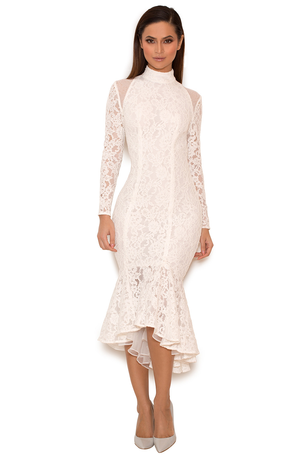 Clothing : Bodycon Dresses : 'Jorani' White Lace Long Sleeved Dress