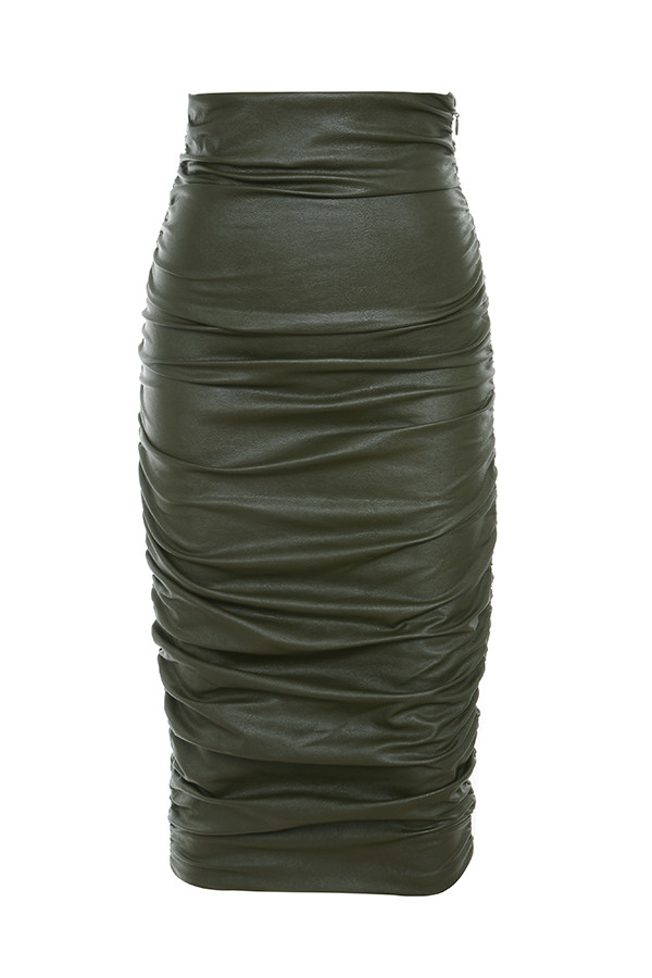 khaki leather pencil skirt dress