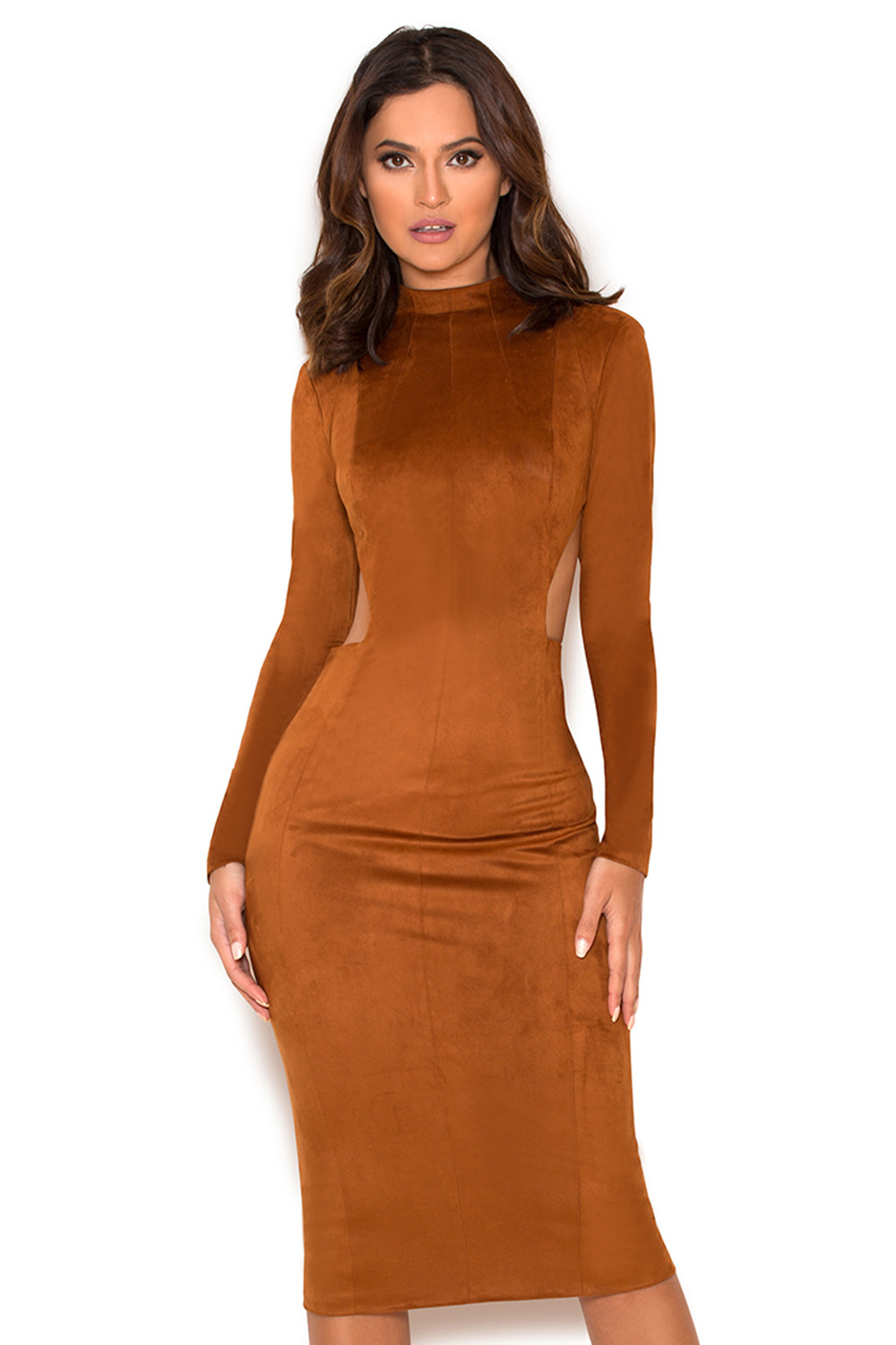 Clothing : Bodycon Dresses : 'Laurina' Tan Suedette Cut ...