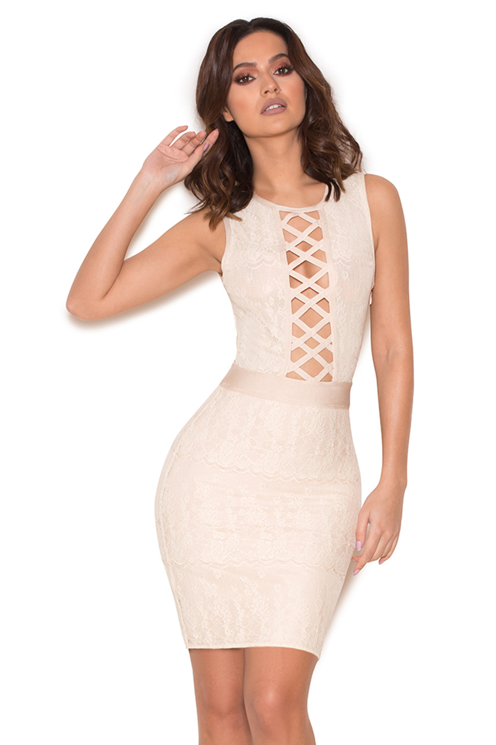 Clothing : Bandage Dresses : 'Luda' Cream Lace Bandage Dress