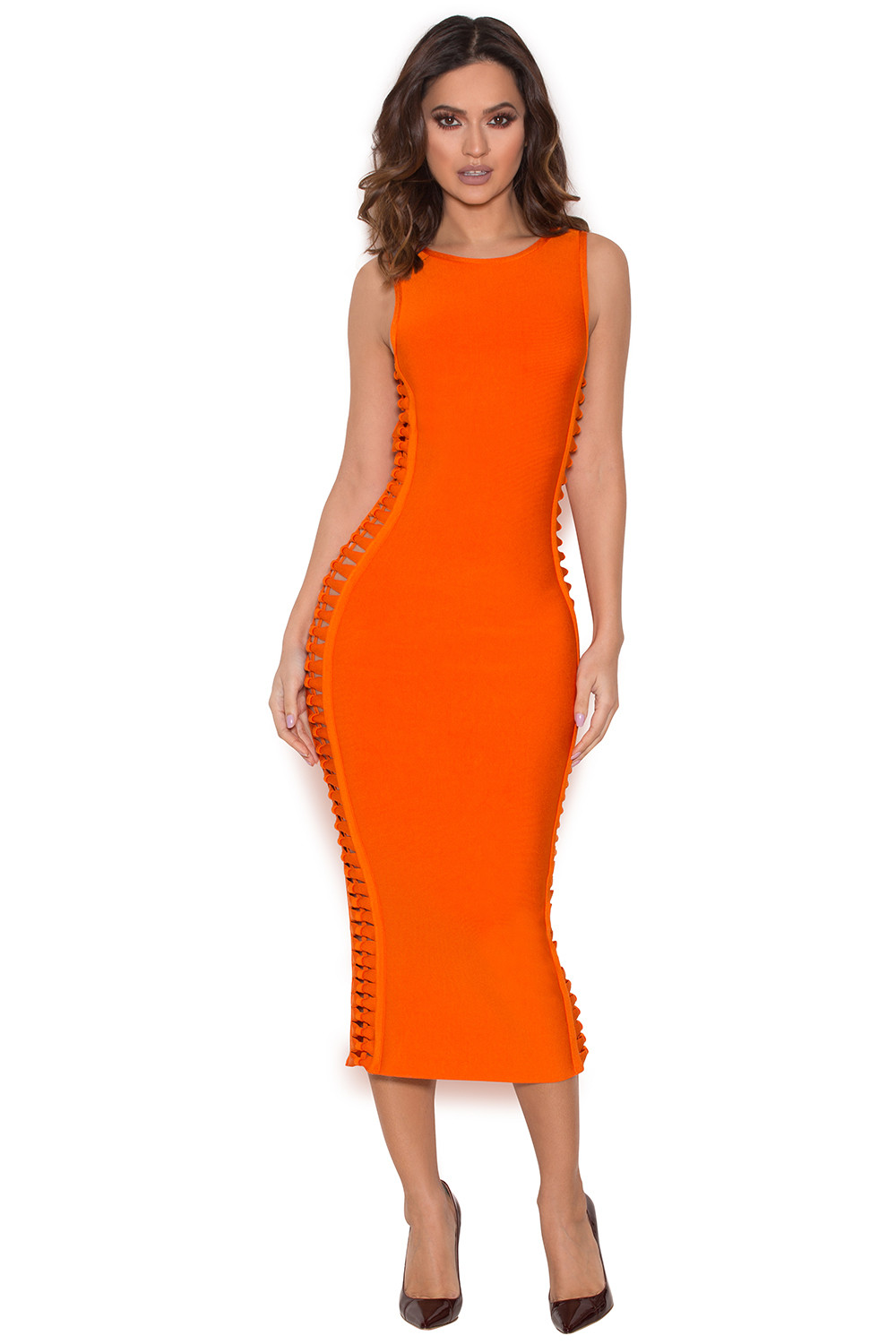 Clothing  Bandage Dresses  U0026#39;Martiniqueu0026#39; Burnt Orange Side Weave Bandage Dress