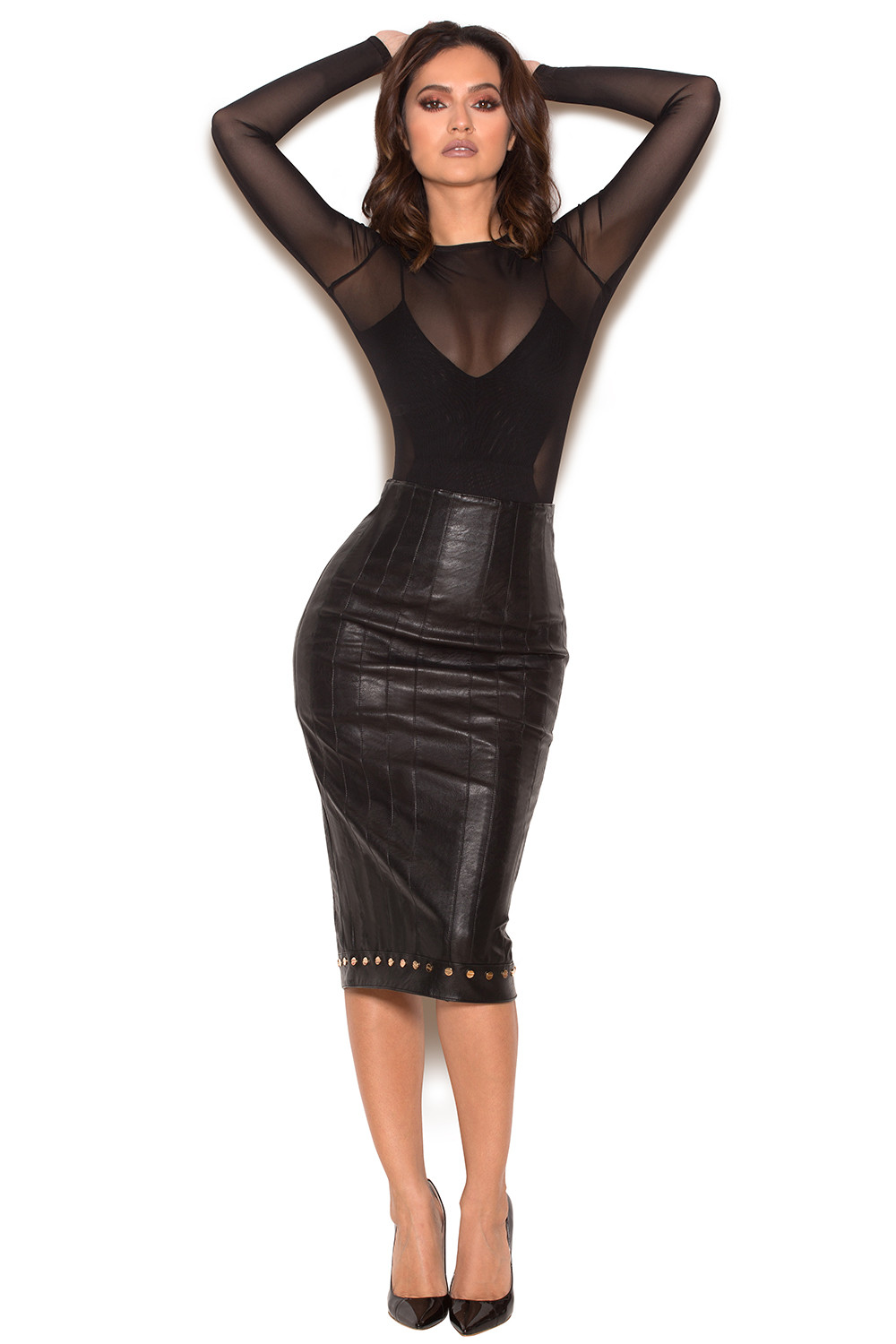 clothing skirts remi black stretch vegan leather