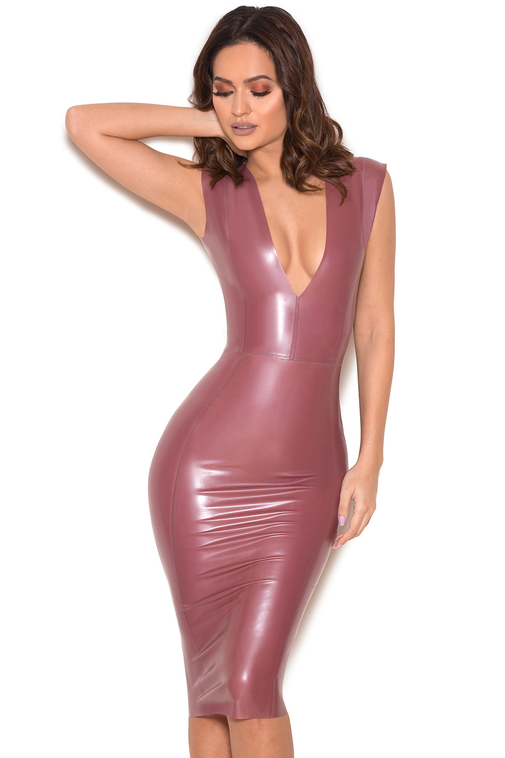 clothing bodycon dresses rivera electric rose deep v latex dress