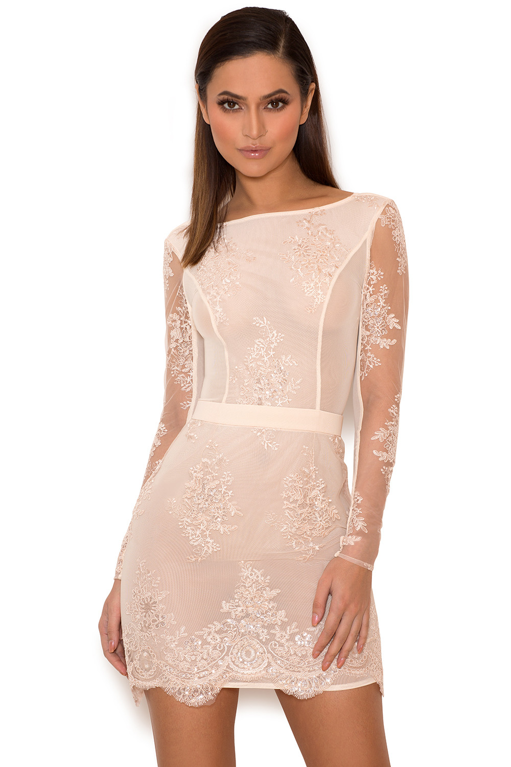 Clothing : Bodycon Dresses : 'Sathea' Light Pink Lace and Sequin ...