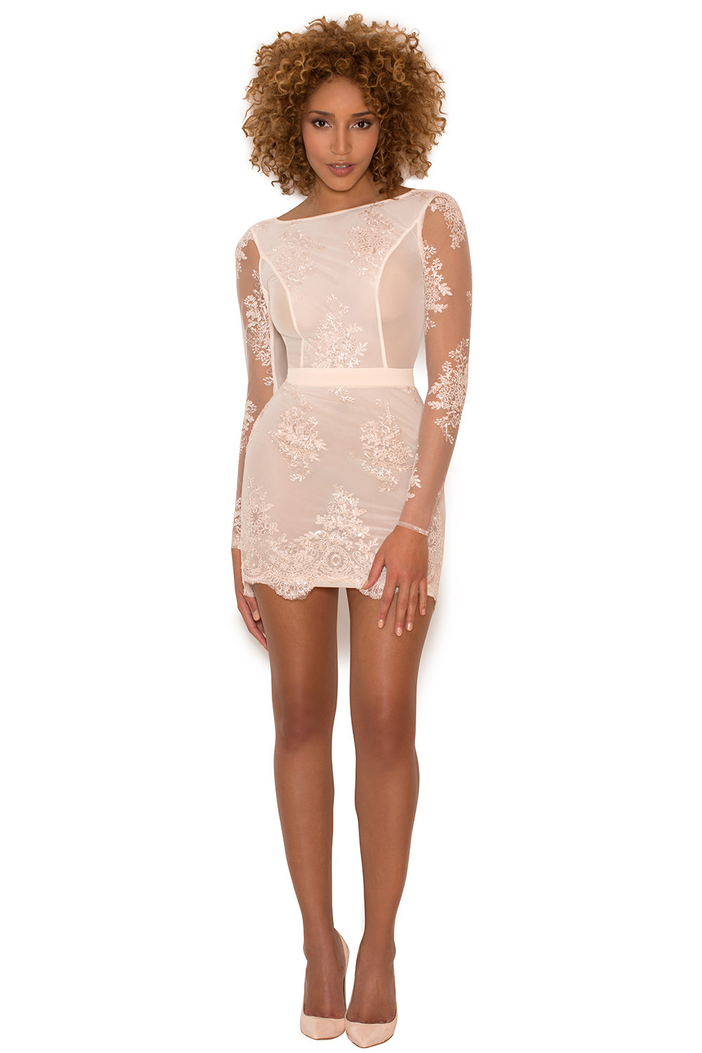 clothing bodycon dresses 39 sathea 39 light pink lace and. Black Bedroom Furniture Sets. Home Design Ideas