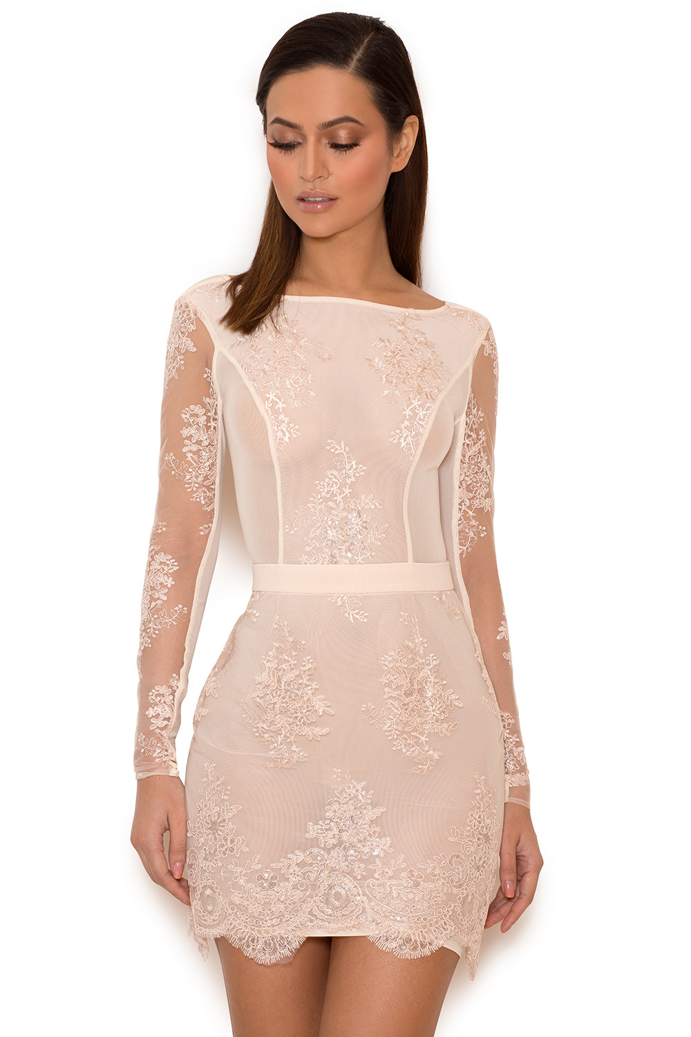 Clothing : Bodycon Dresses : 'Sathea' Light Pink Lace and ...