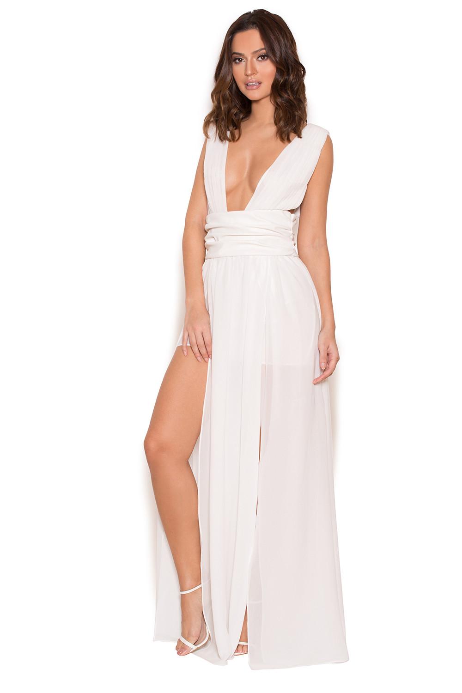 White dress chiffon - Sultana White Chiffon Double Thigh Split Maxi Dress