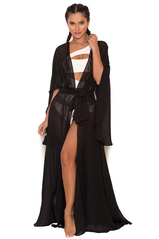 Fashion Book Cover Ups : Clothing swimwear mariea black chiffon full length