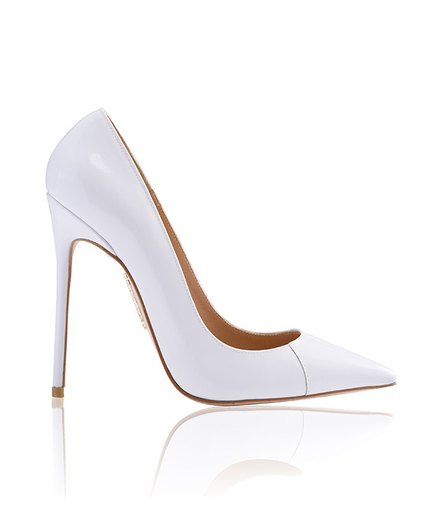 Shoes: 'PARIS' White Patent Leather Pointy Toe Heels 5""