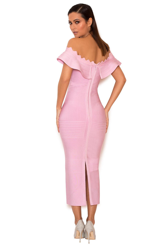 clothing bandage dresses 39 amadea 39 lilac fluted off shoulder dress. Black Bedroom Furniture Sets. Home Design Ideas